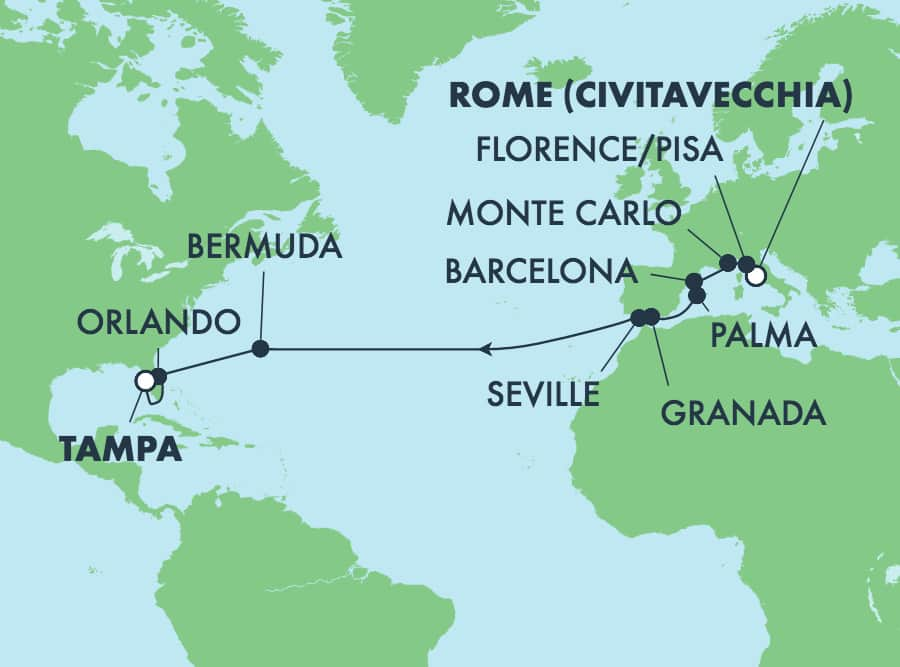 17-Day Transatlantic From Rome To Tampa: Italy, Spain & Bermuda