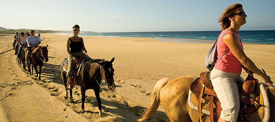 Horseback riding when cruising to the Mexican Riviera