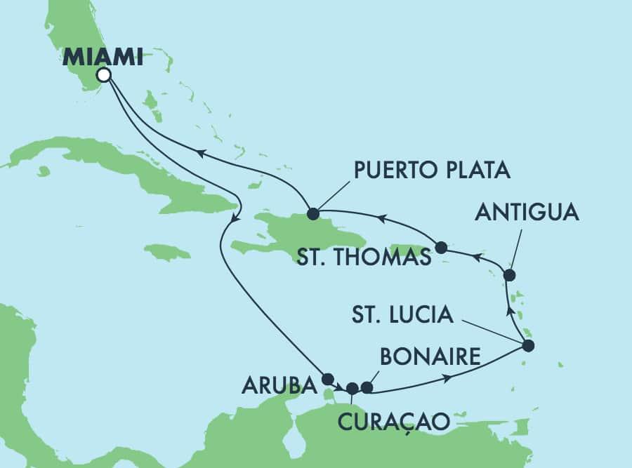 שייט בן11 ימיםהלוך ושוב לאיים הקריביים ממיאמי: קוראסאו, ארובה והרפובליקה הדומיניקנית.