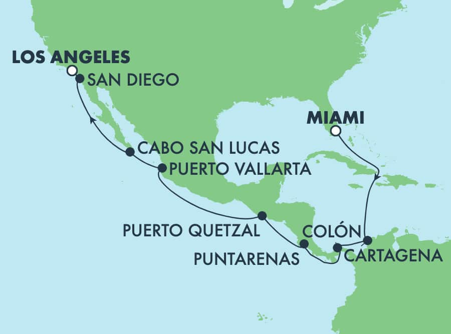 16-Day Panama Canal from Miami to Los Angeles