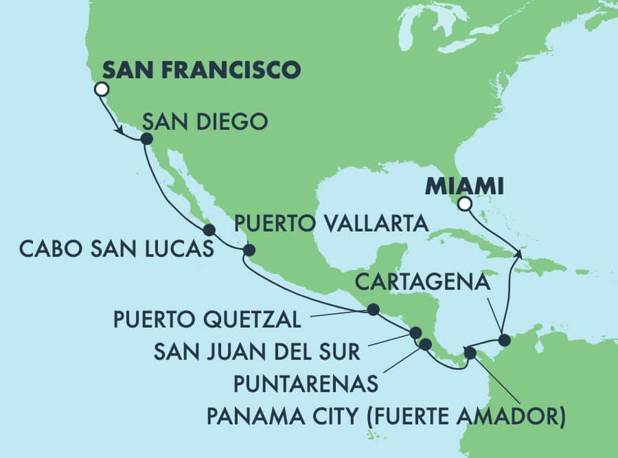 17-Day Panama Canal from San Francisco to Miami: Mexico & Costa Rica