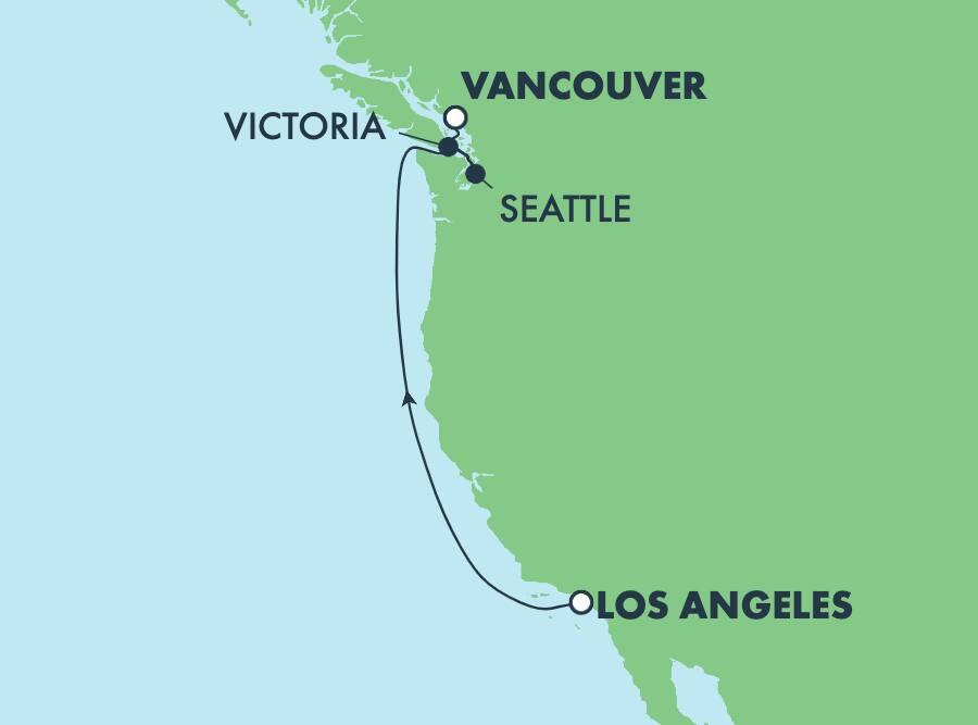 שייט בן5 ימיםלחופיהאוקיינוס השקטמלוס אנג'לס לוונקובר: ויקטוריה וסיאטל