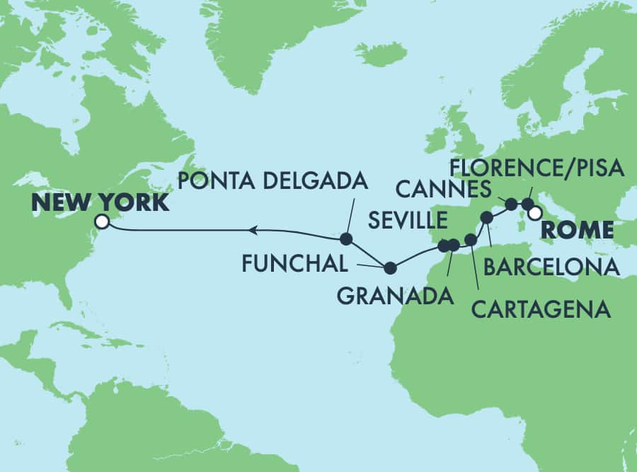 15-Day Transatlantic from Rome to New York: Italy, France & Spain