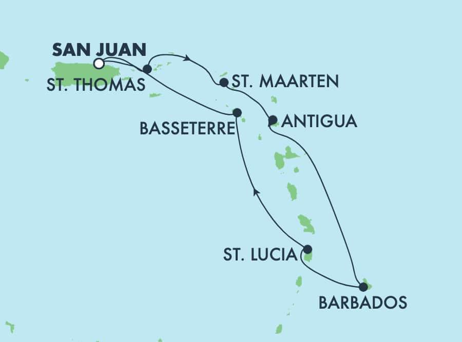 7-Day Caribbean Round-trip San Juan: Barbados, St. Lucia & Antigua