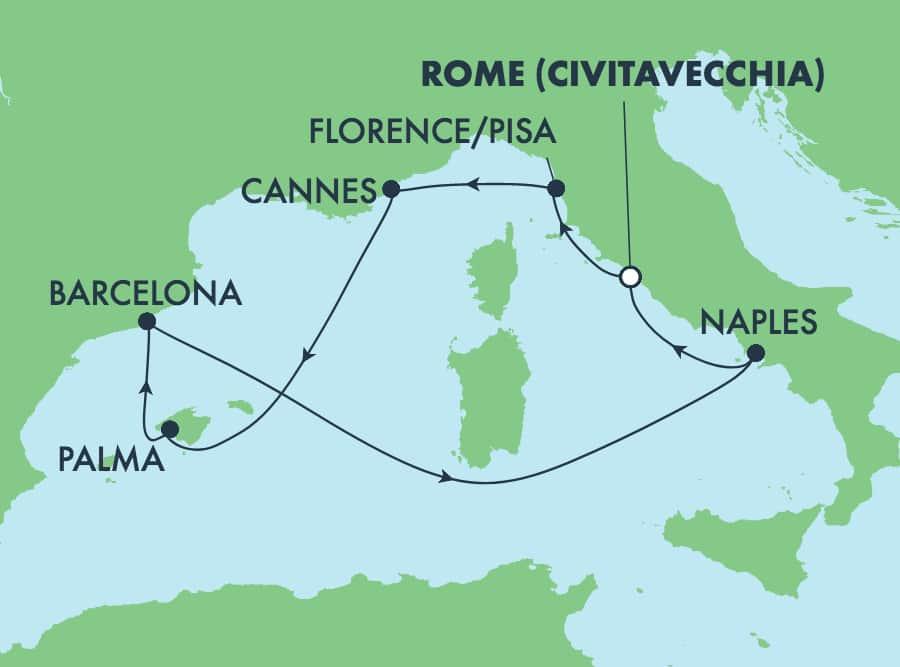 הפלגת 7 ימים במערב הים התיכון מרומא (צ'יוויטווקיה)