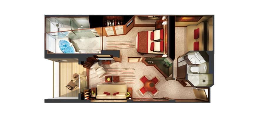 Grundriss einer The Haven Familien Villa mit 2 Schlafzimmern und Balkon
