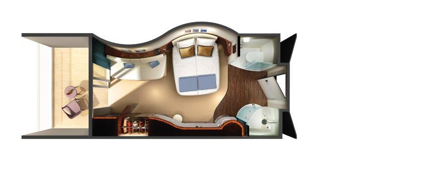 Plano de un camarote familiar con balcón
