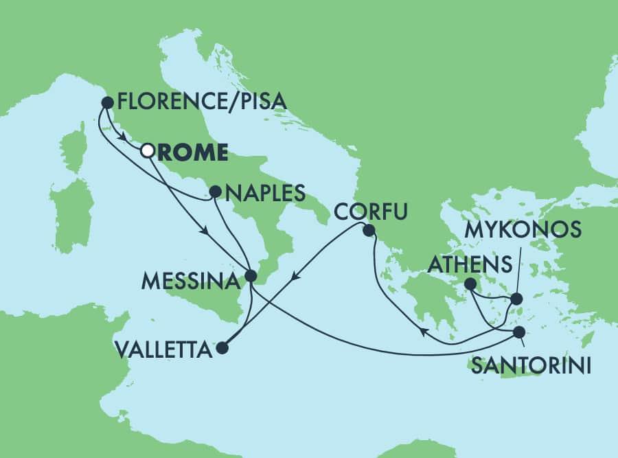 10-Day Greek Isles Round-trip Rome: Santorini, Athens & Florence