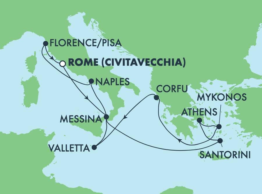 שייט הלוך ושוב בן 10 ימיםלאיי יוון מרומא: סנטוריני, אתונה ופירנצה