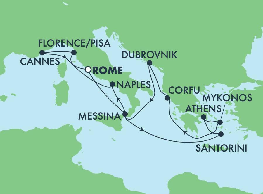 11-Day Greek Isles Round-trip Rome: Santorini, Athens & Florence