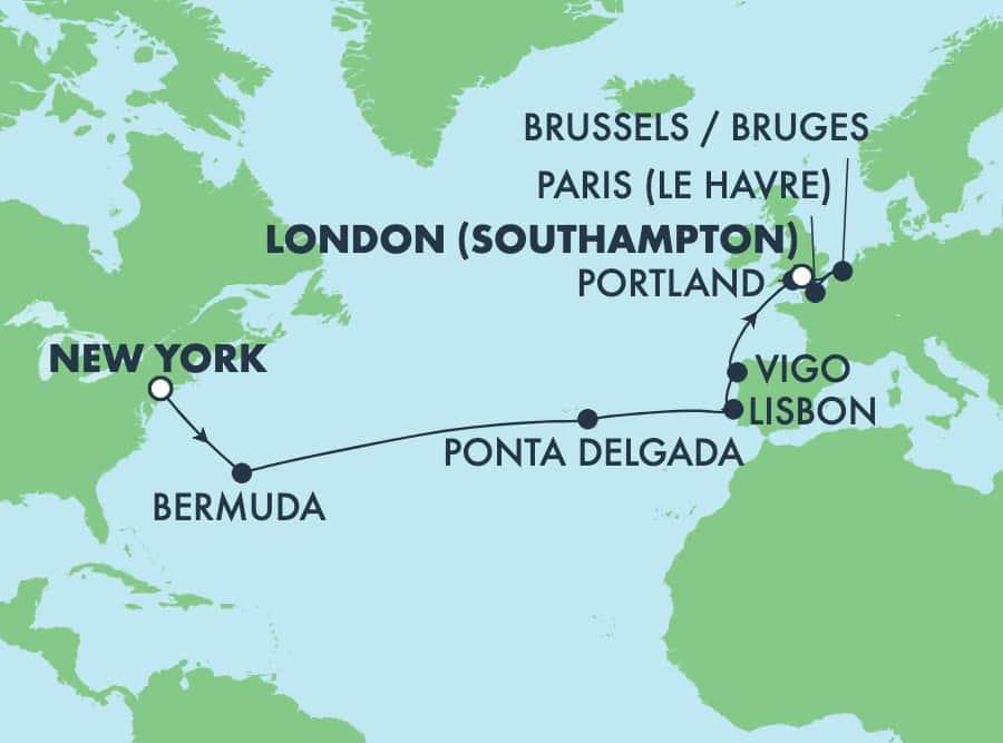 הפלגה טרנס-אטלנטית מניו יורק–15 יום