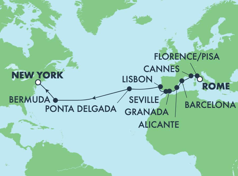 16-Day Transatlantic from Rome to New York: Italy, France & Spain