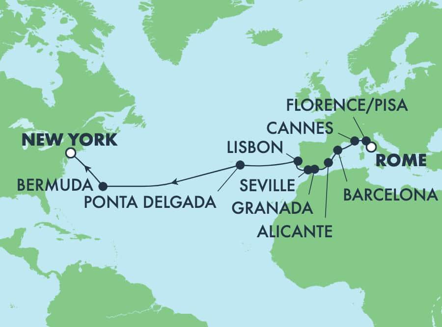 16 Tage Transatlantik von Rom nach New York: Italien, Frankreich und Spanien