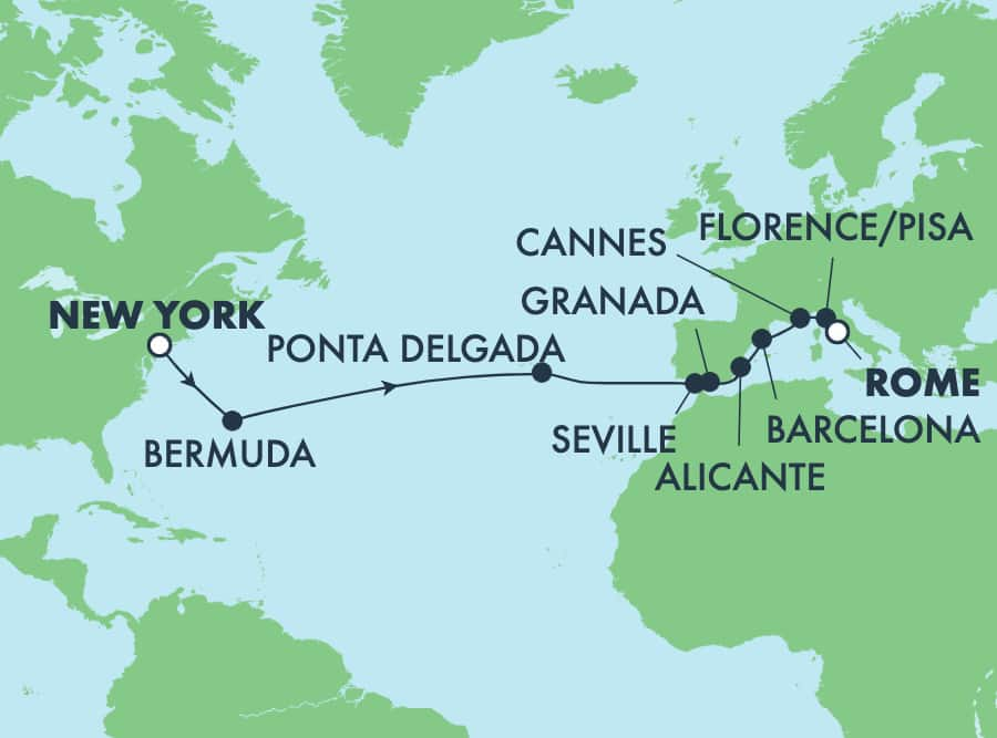 16-Day Transatlantic from New York to Rome: Italy, France & Spain