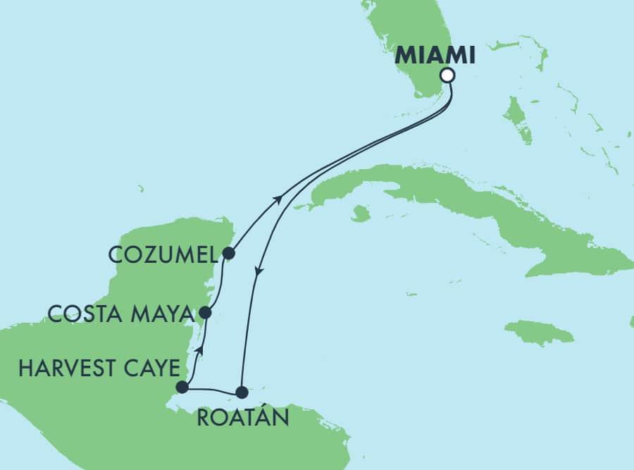 7 ימים הלוך ושוב באיים הקריביים ממיאמי: הארווסט קיי, קוסומל ורואטן