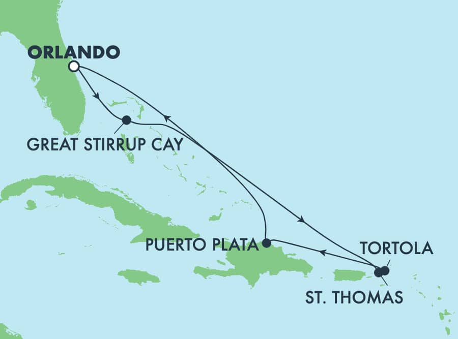 7-Day Caribbean Round-trip Orlando: Great Stirrup Cay & Dominican Republic