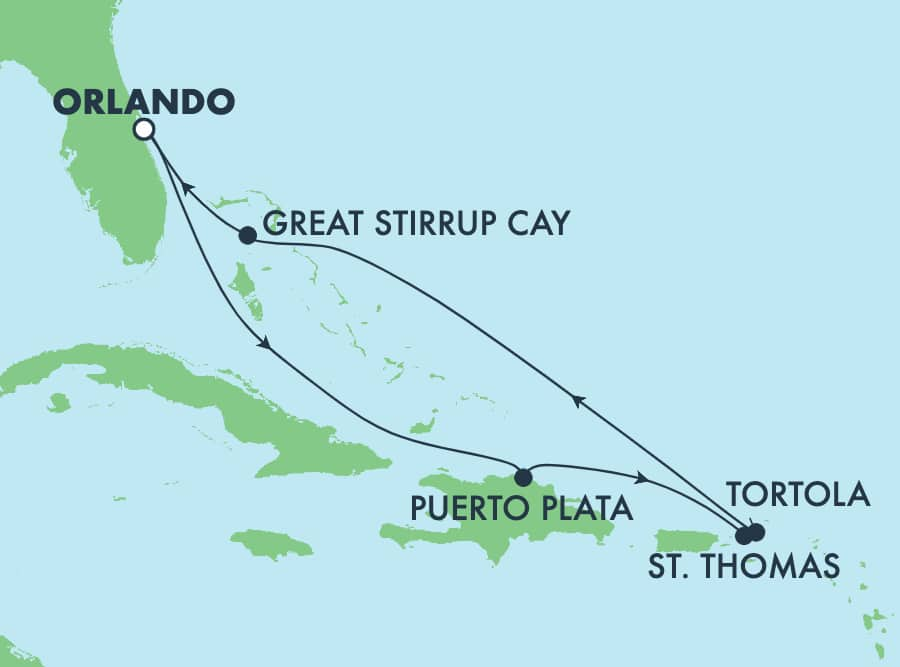 7-Day Caribbean Round-trip Orlando: Great Stirrup Cay & Dominican Republic