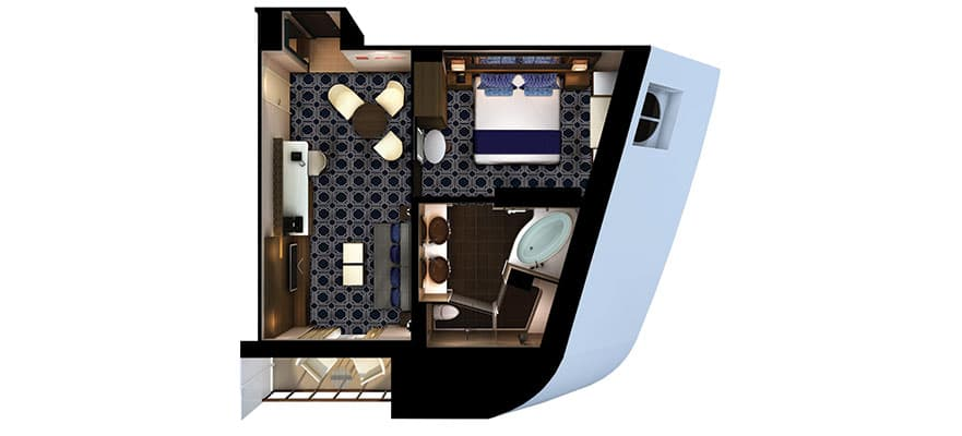Floor plan The Haven Suite - Connecting Stateroom