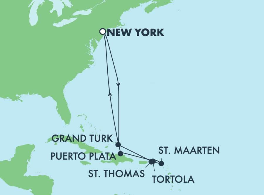 שייט הלוך ושוב בן 10 ימים לאיים הקריביים מניו יורק: הרפובליקה הדומיניקנית וגרנד טרק