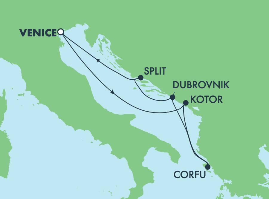 5-Day Mediterranean Round-trip Venice: Greece, Croatia & Montenegro