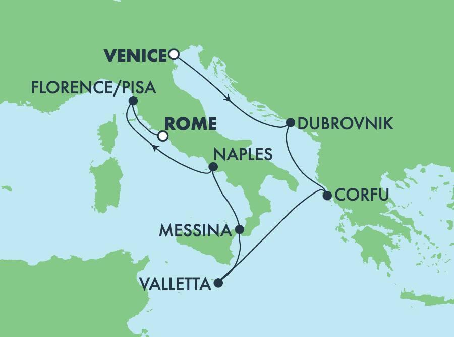 7-Day Mediterranean from Venice to Rome: Italy, Greece & Croatia