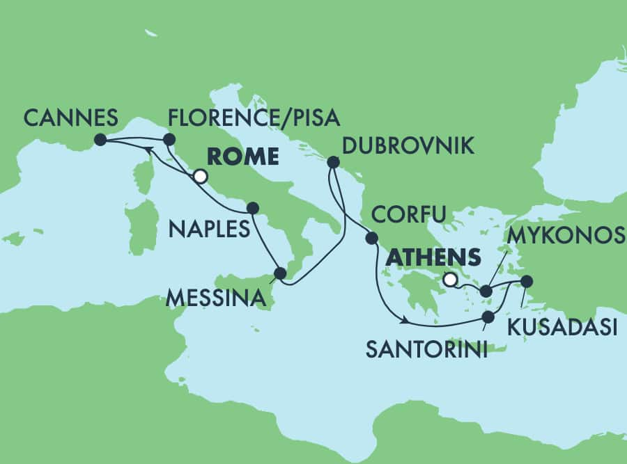 10-Day Greek Isles from Rome to Athens: Santorini, Mykonos & Florence