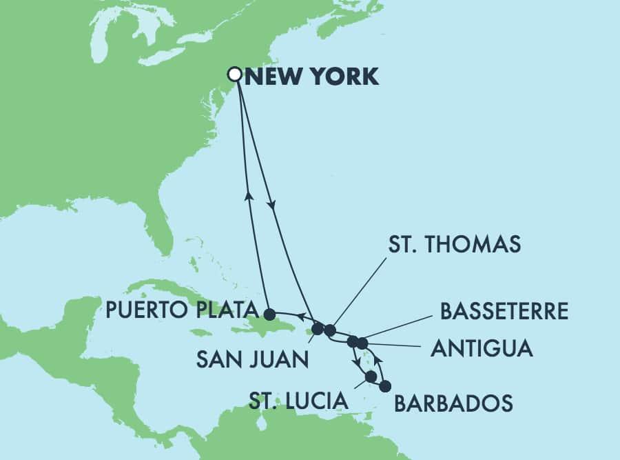 שייט הלוך ושוב בן12 ימים לאיים הקריביים מניו יורק: ברבדוס והרפובליקה הדומיניקנית