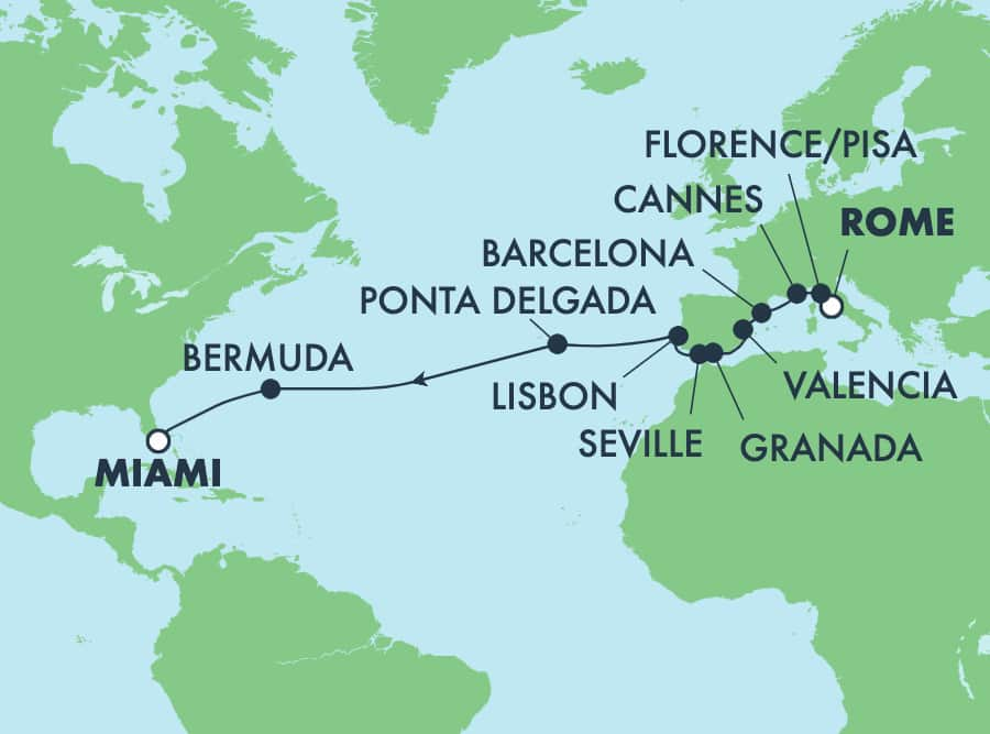 17-Day Transatlantic from Rome to Miami: Italy, France & Spain
