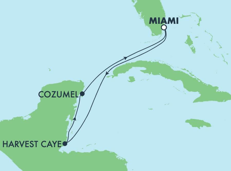 El Caribe, viaje de ida y vuelta desde Miami: Harvest Caye y Cozumel,5 días