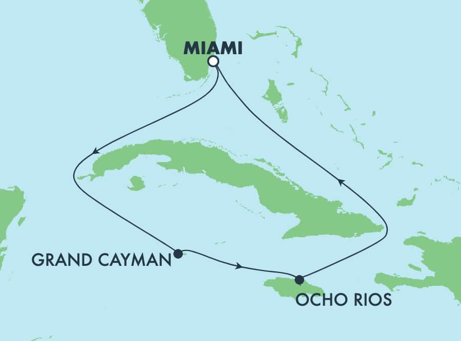 שייט הלוך ושוב בן5 לים הקריבי ממיאמי: ג'מייקה וגרנד קיימן