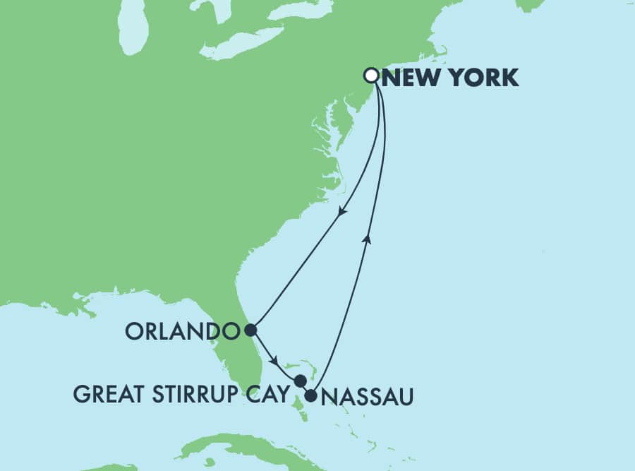 7-Day Bahamas Round-trip New York: Great Stirrup Cay, Orlando & Nassau