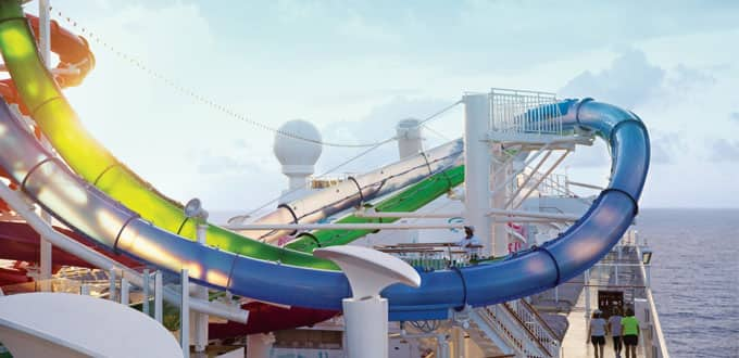 Take the plunge on five multistory waterslides.