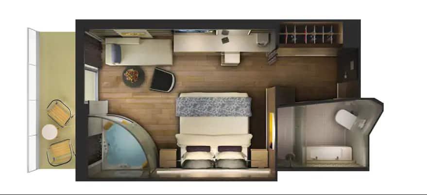 """תכנית הקומה של סוויטת ספא <bdo dir=""""ltr"""">The Haven</bdo> עם מרפסת"""