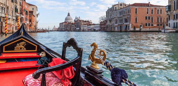 Coast through history along the Grand Canal of Venice