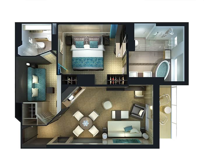 Plano de The Haven villa familiar con balcón, 2 habitaciones en el Norwegian Breakaway
