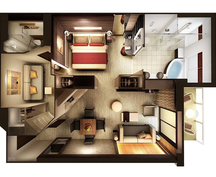 Plan de la cabine The Haven Family Villa 2 chambres avec balcon sur le Norwegian Escape