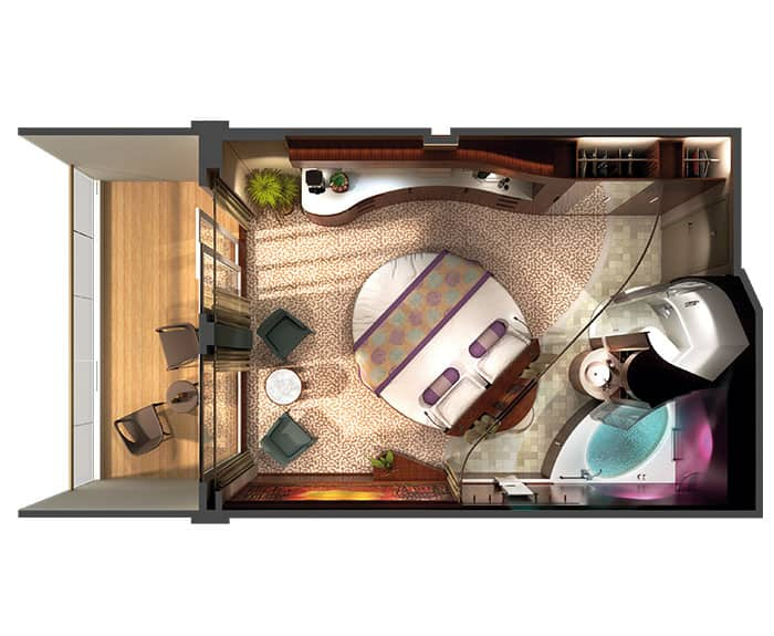 The Haven's Courtyard Penthouse with Balcony on Norwegian Epic Floor Plan