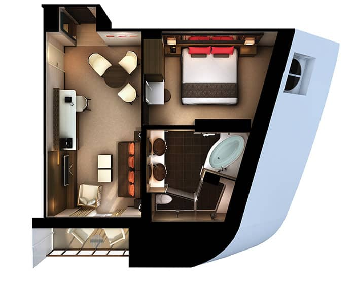 Plano de The Haven Penthouse en la proa en el Norwegian Escape