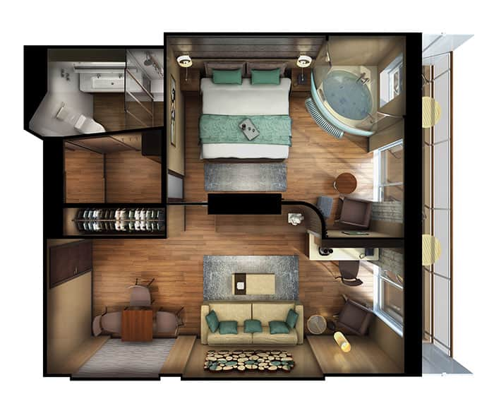 Planimetria The Haven Deluxe Spa Suite con balcone sulla Norwegian Escape