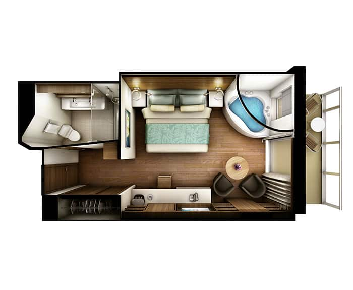 The Haven's Spa Suite with Balcony Floor Plan on Norwegian Escape