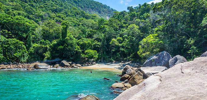 Find tranquility in the lush landscapes of Ilha Grande, Brazil