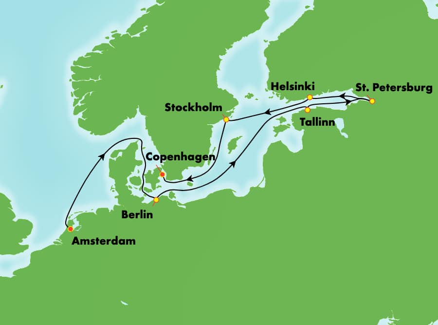 10-Day Baltic from Amsterdam to Copenhagen: Germany, Russia & Sweden