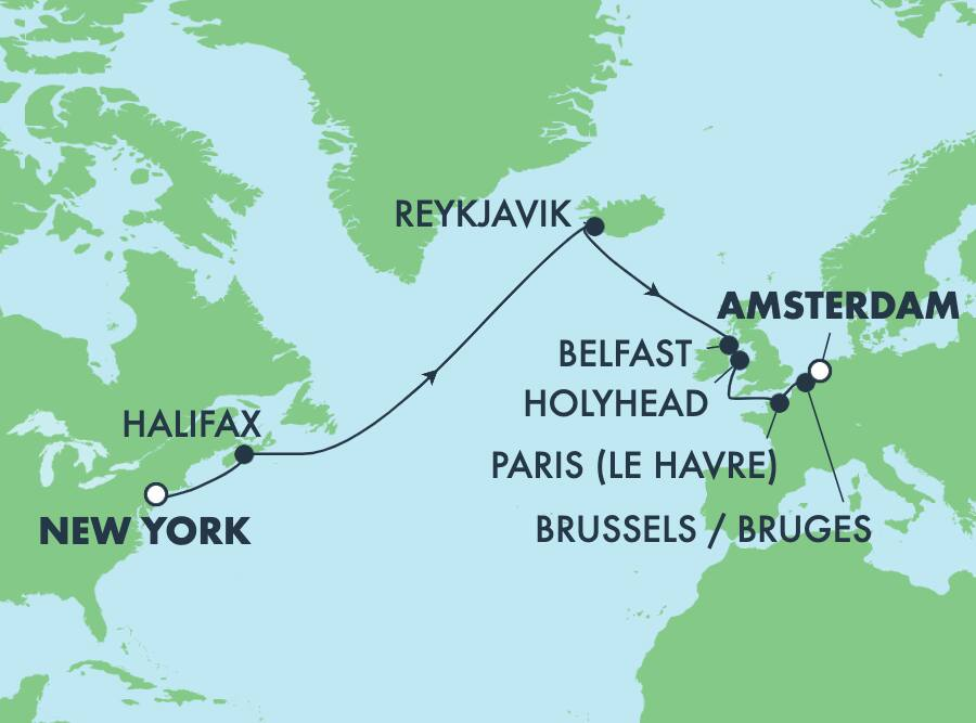 15-Day Transatlantic from New York to Amsterdam: France & Iceland