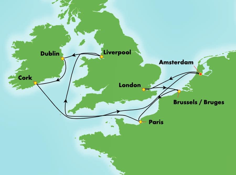 9-Day British Isles Round-trip Amsterdam: England, Ireland, & France