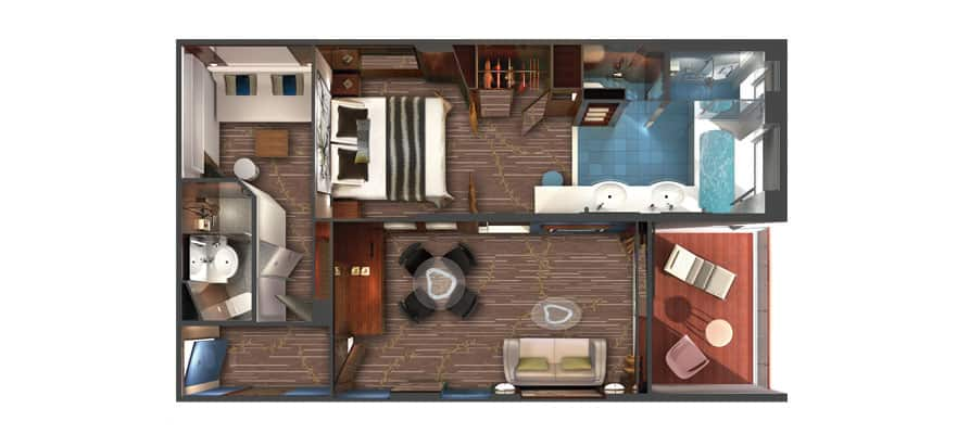 Plan de la cabine 2 chambres The Haven Family Villa avec balcon