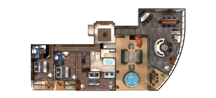 Plan de la cabine Garden Villa 3 chambres The Haven
