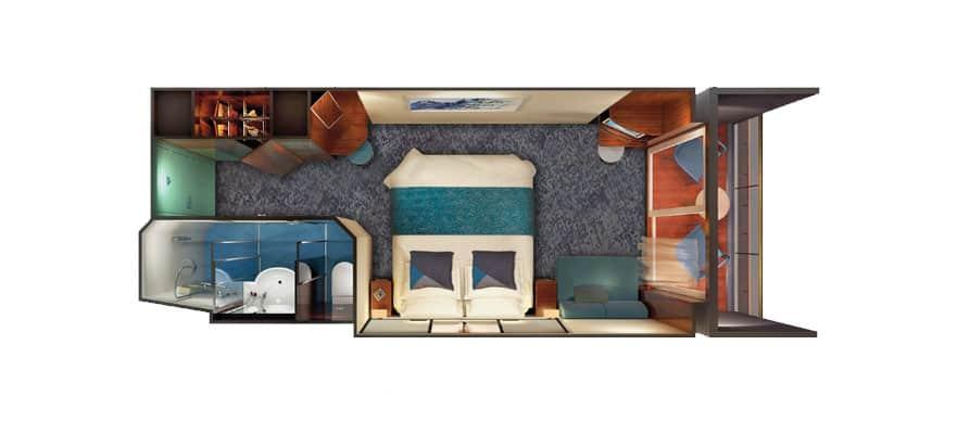 תכנית הקומה של חדר פונה לירכתיים עם מרפסת