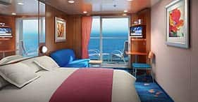 Norwegian Jewel cruise ship Balcony Stateroom with two beds, floor-to-ceiling gl