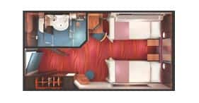 Norwegian Jewel cruise ship Inside Stateroom floorplan.