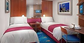 Norwegian Jewel cruise ship Inside Stateroom with two beds.